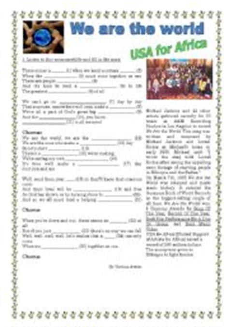 printable lyrics we are the world english worksheets we are the world lyrics song to use