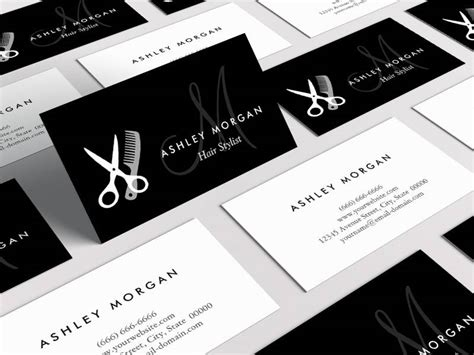 business card monogram template black white monogrammed hair salon hairstylist business