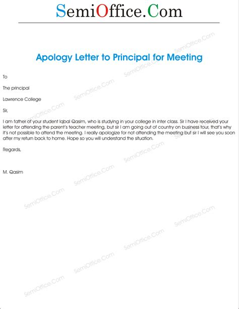 Apology Letter Not Able To Attend Meeting Apologized For No Attend In School Guardian Meeting