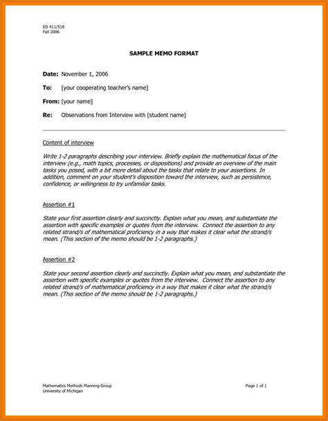 exle of a formal memorandum letter memo format exle letter format business