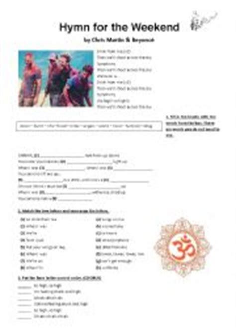 download mp3 coldplay hymn for the weekend lyrics english worksheets hymn for the weekend coldplay ft byonc 233