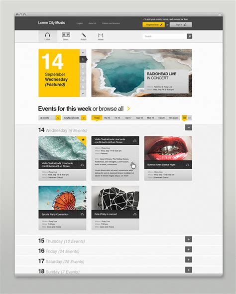 web layout behance event music website on behance