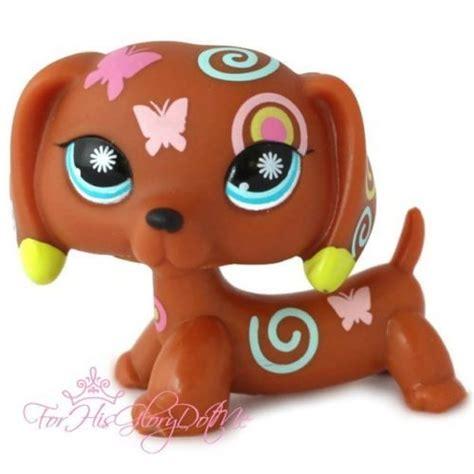 lps wiener dogs littlest pet shop lps 1010 brown butterfly swirl dachshund puppy flower lps