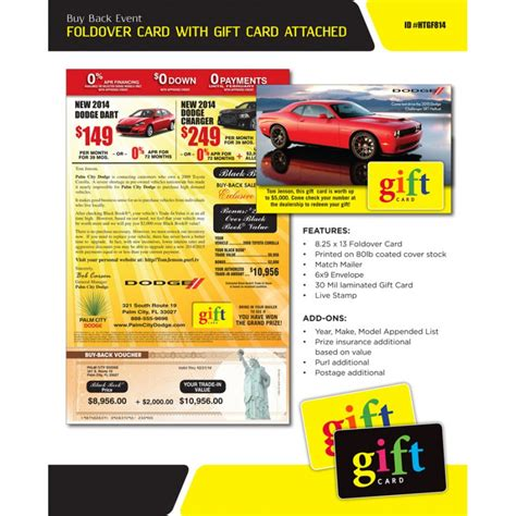 Gift Card Mailer - 8 25 x 13 buy back direct mailer with attached gift card
