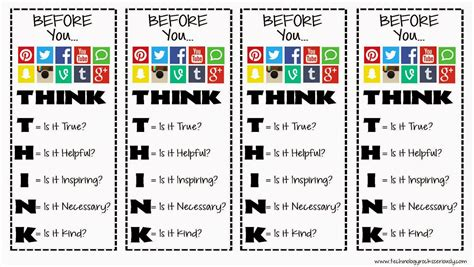 printable bookmarks for high school students technology rocks seriously before you post think