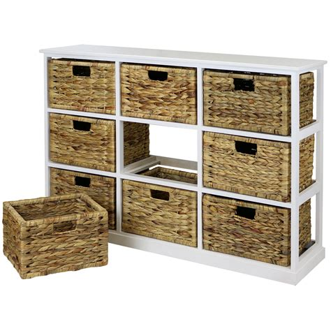 Chest With Wicker Basket Drawers by Hartleys 3x3 White Wood Home Storage Unit 9 Wicker Drawer