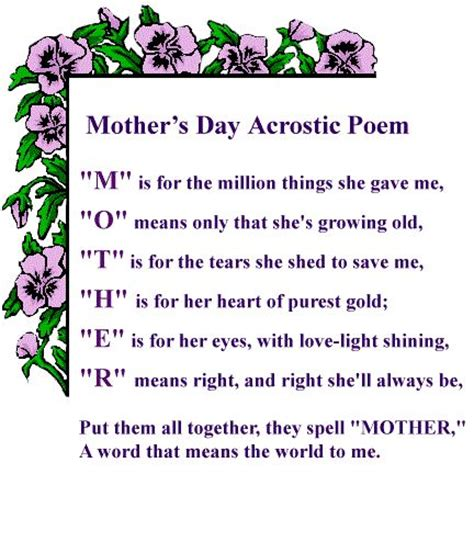day acrostic poem mothers day poems s day acrostic poem