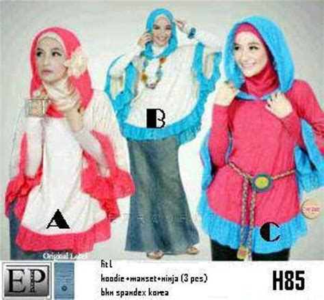 Stelan Anak 3in1 Putih Pink Hodie hijabers 3in1 h85 spandex baju modis hijabers muslim remaja