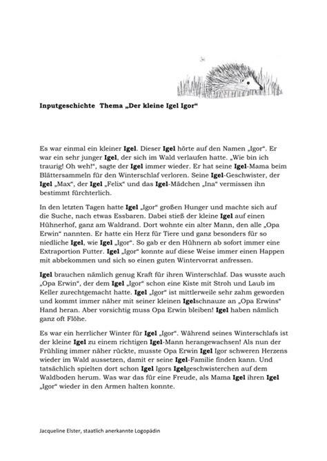 Reflexion Schreiben Muster Pflege Inputgeschichte Igel Kindersprache Ses Waldtiere Igel Und Geschichte