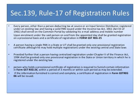 section 17 registration act transitional provisions and ctd draft rules under gst in india
