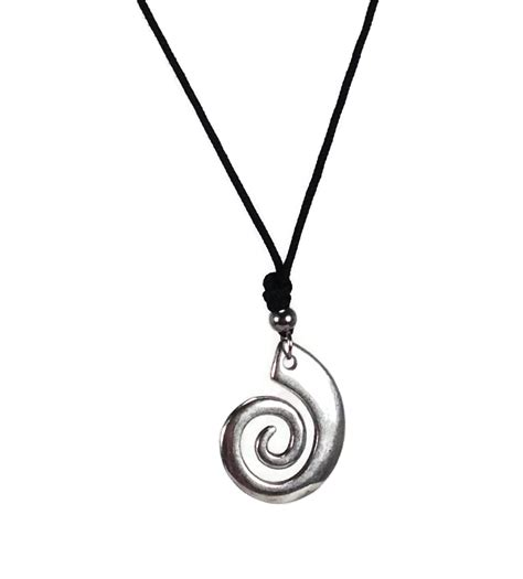 Spiral Silver Necklaces spiral silver pendant necklace on black cord