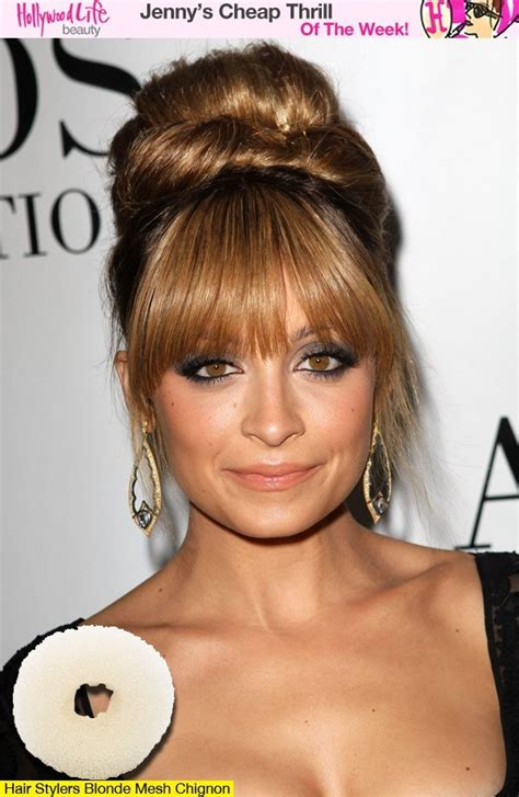 donut bun hairstyle with bangs nicole richie s glam bun get the look for 3 69 bangs