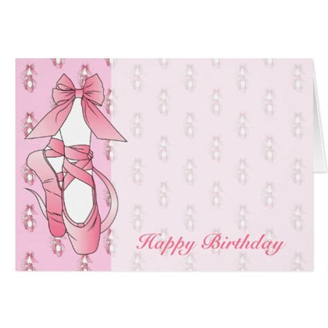 Shoes Com Gift Card - pink ballet shoes birthday greeting card zazzle