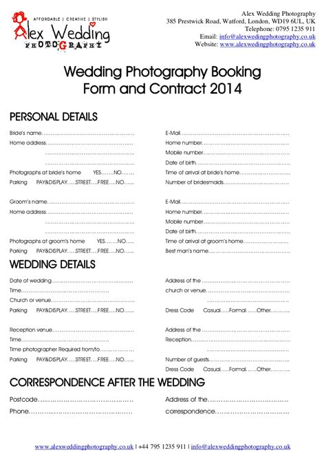 Wedding Photography Booking Form And Contract 2014 Entertainment Booking Form Template