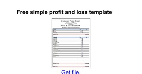free simple profit and loss template google docs