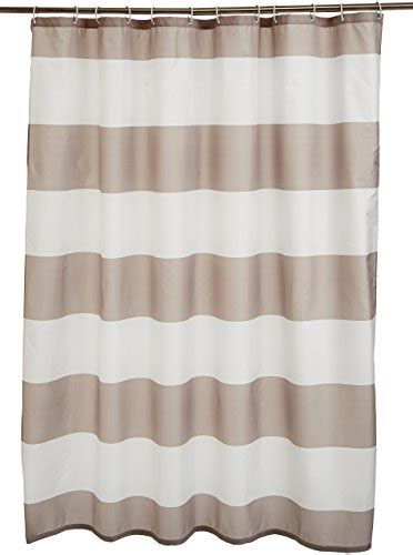 Shower Curtains Without Hooks Amazonbasics Shower Curtain With Hooks 72 X 72 Inches Gray Stripe Home Garden Bathroom