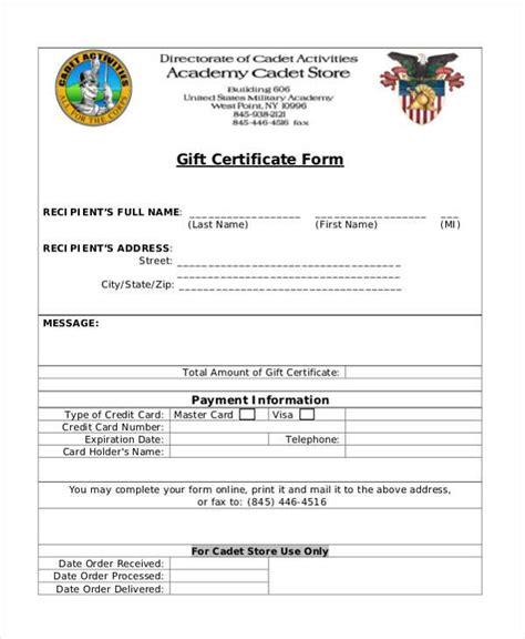 free gift card forms template certificate form templates