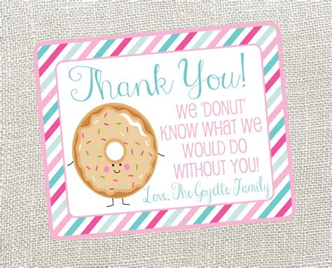 free thank you card templates donut donut thank you card for nurses friend