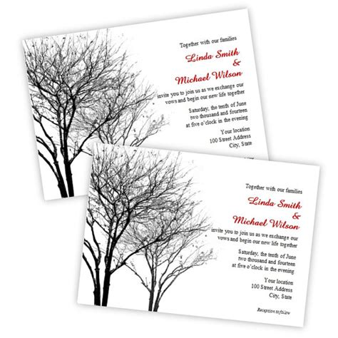 microsoft word invitation template black and gray winter trees wedding invitation instant