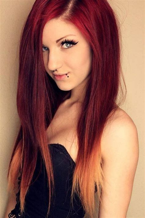 ombre hairstyles for long straight hair 18 striking red ombre hair ideas popular haircuts