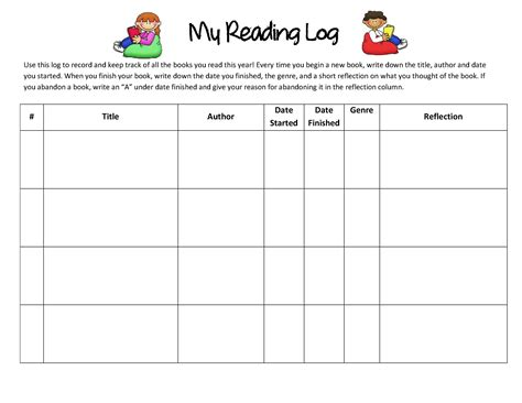 4th grade reading log template 5 best images of kindergarten reading log printable