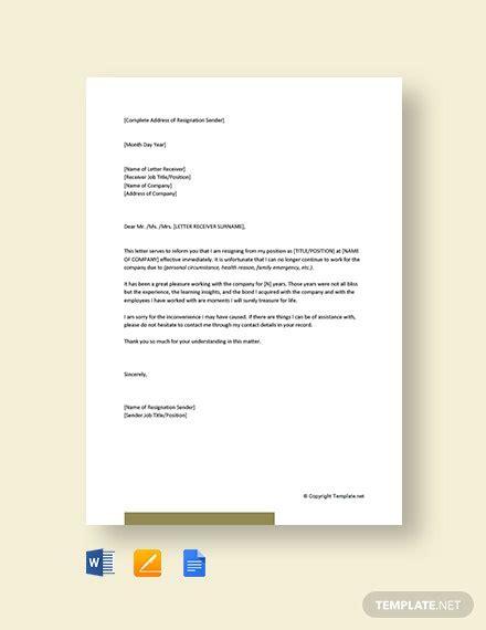 short resignation letter effective immediately