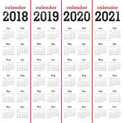 Kalender 2018 Vektor Year 2018 2019 2020 2021 Calendar Vector Stock Vector