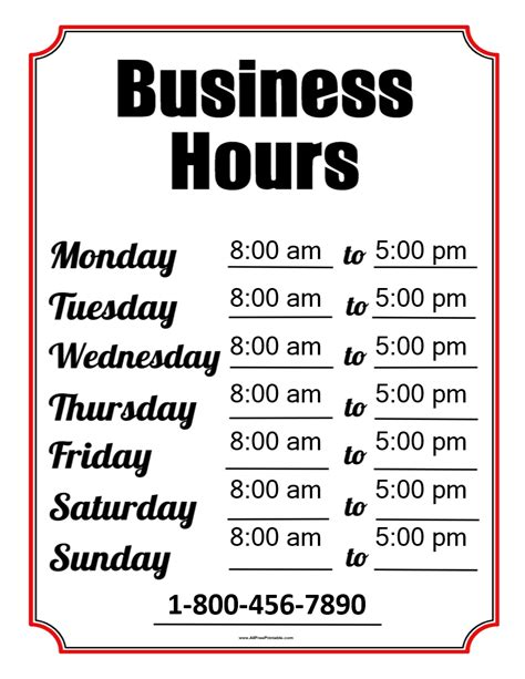 Free Business Hours Template Templates At Allbusinesstemplates Com Hours Template
