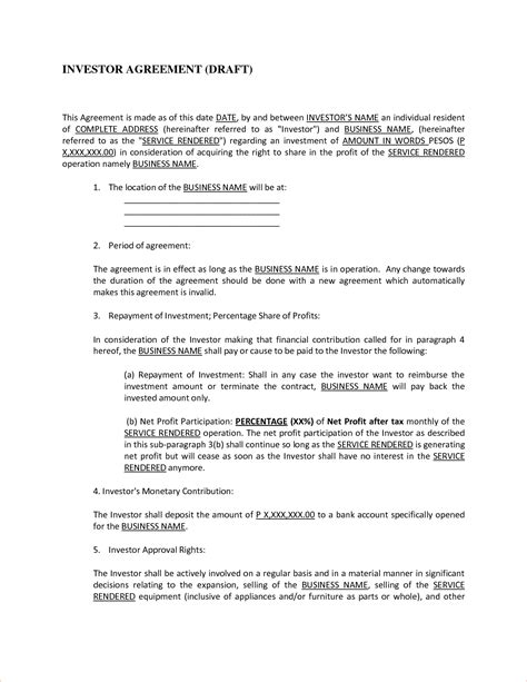 Investor Agreement Templatereport Template Document Report Template Shareholder Report Template