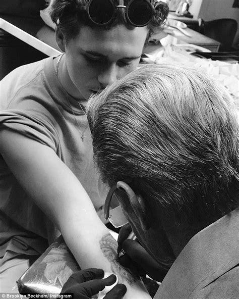 tattoo beckham cruz david beckham joins brooklyn romeo and cruz at baseball