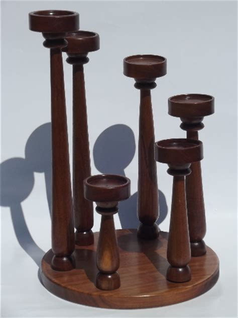 Spiral of candles vintage walnut wood candle holder w
