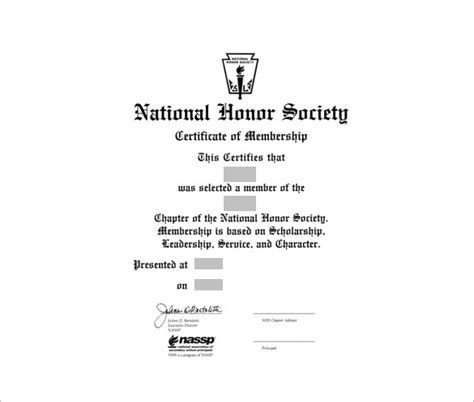 national honor society certificate template membership certificate template 23 free word pdf