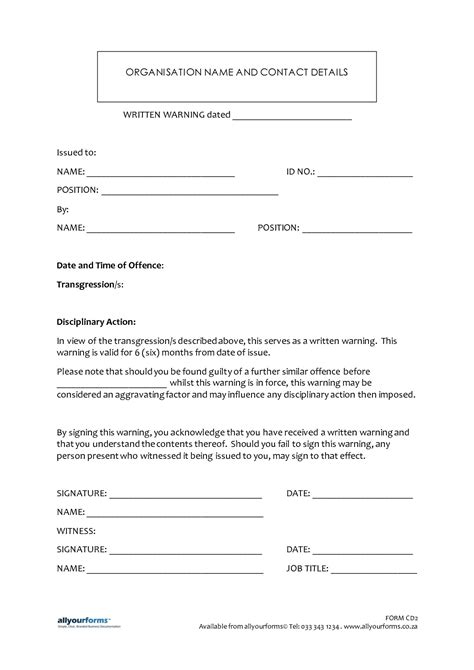Employee Written Warning Template written warning template tristarhomecareinc