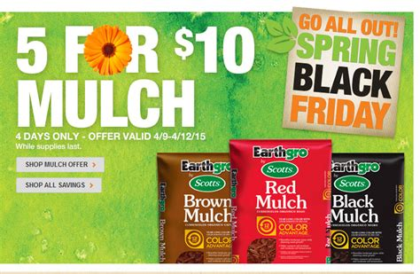 home depot scott s earthgro mulch just 2 through sunday