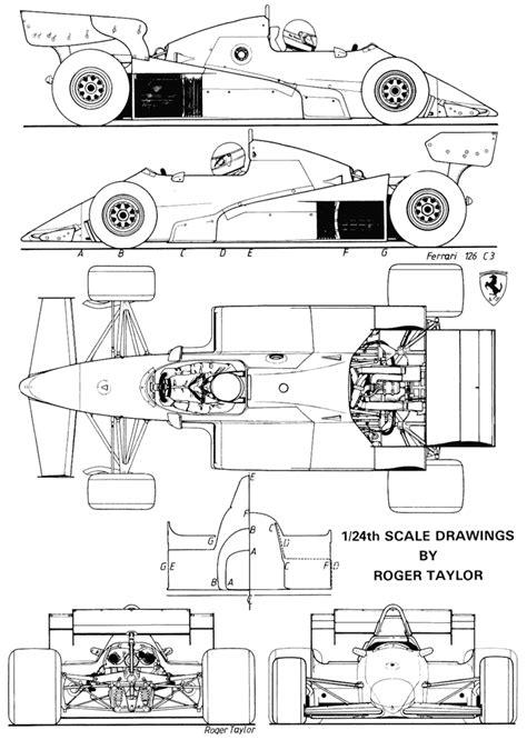 1982 Ferrari 126 C2 Formula blueprints free - Outlines