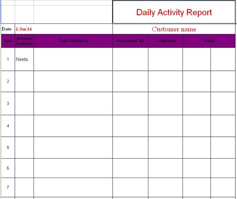 employee daily report template daily activity report format in excel free
