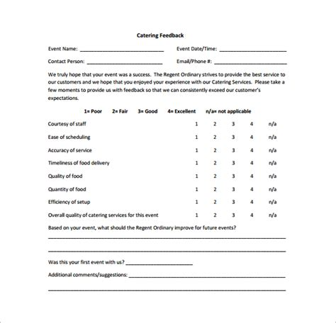 catering questionnaire template feedback survey template 9 free documents in