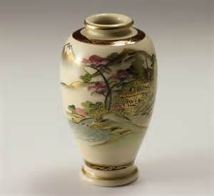 Japanese Hand Painted Vases Japanese Vase Satsuma Pottery Handpainted Landscape W