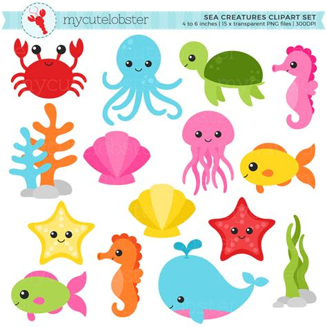templates for under the sea creatures sea creatures clipart set sea animals clip art crab