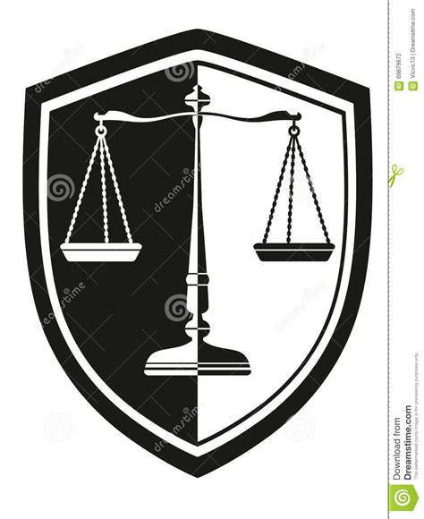 color of justice icon libra with laurel wreath shield black and white