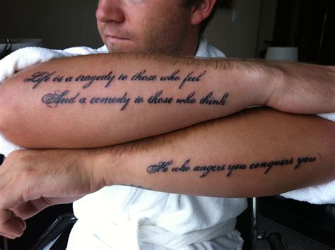 forearm script tattoos for men wings and sayings