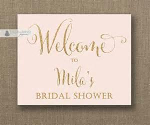 blush pink gold glitter welcome sign bridal shower wedding