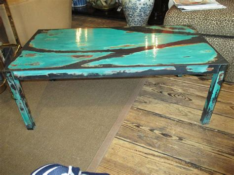 Turquoise Table L Artisan Crafted Turquoise Metal Coffee Table At 1stdibs