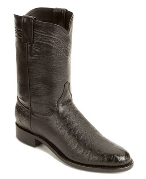 smooth ostrich boots justin black smooth ostrich roper boots