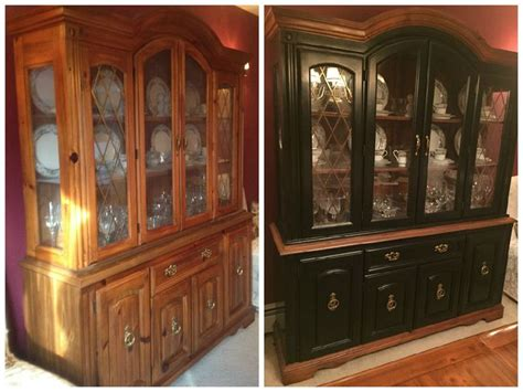 china cabinet in spanish before and after gel stained china cabinet used old