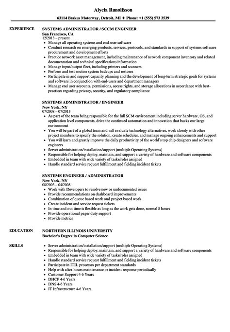 systems engineer systems administrator resume sles