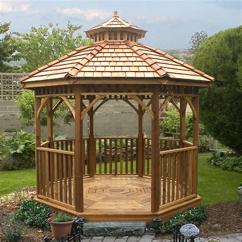gazebo lowes outdoor living today bayside 10 ft cedar panelized octagon