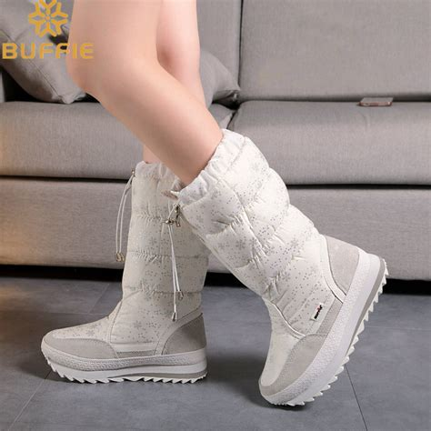 Sp Boot Flower White knee high zipper up snow boots white colour 2017 new winter boots high quality soft warm