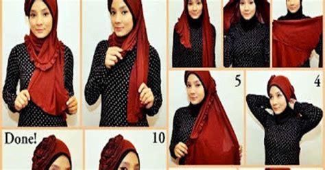 tutorial gambar dan video cara model tutorial dan cara memakai mengenakan jilbab hijab