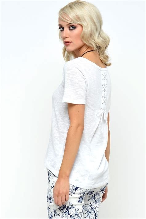 Freja Top In White only freja back lace up s s top in white iclothing